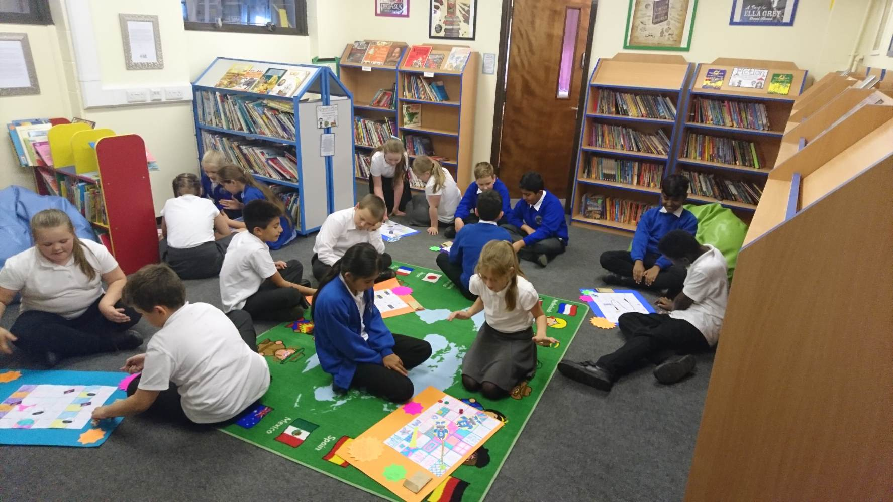 Year 6 making board games to promote E safety.