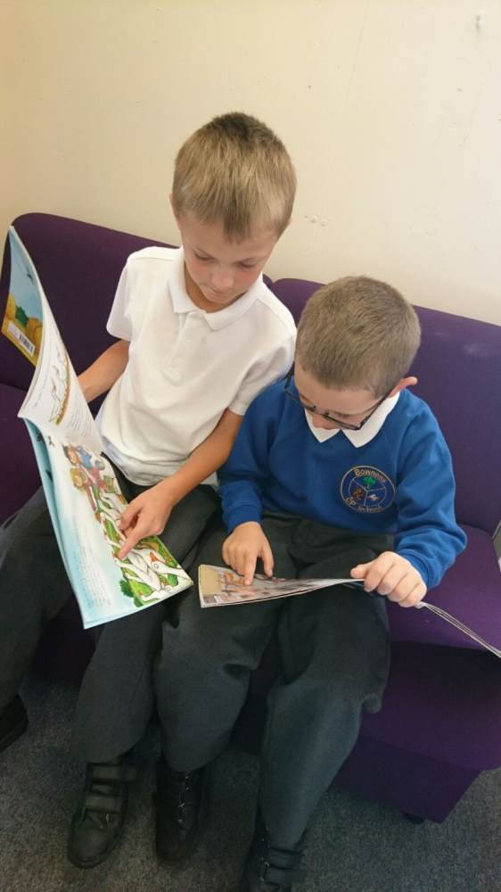 Pupil's reading in Mrs Unsworth's office at lunchtime