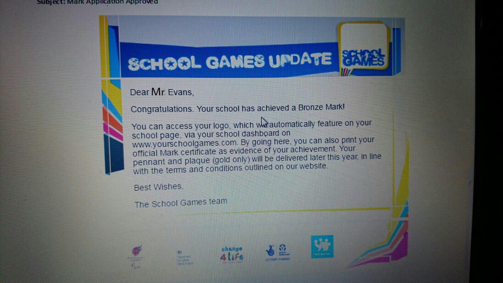 School Games Bronze Mark Award