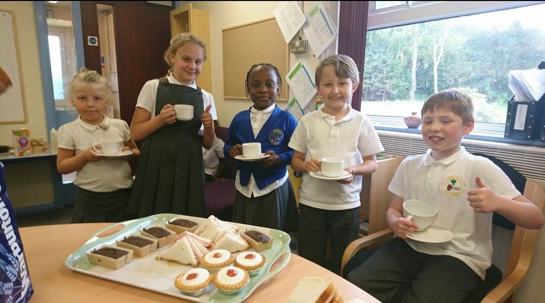 Writing Competition Winners Having Afternoon Tea